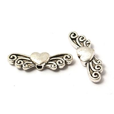 Engelflügel, Schmetterling mit Herz ENIO-HERZ, antiksilbern, 23 mm - 1 Stück