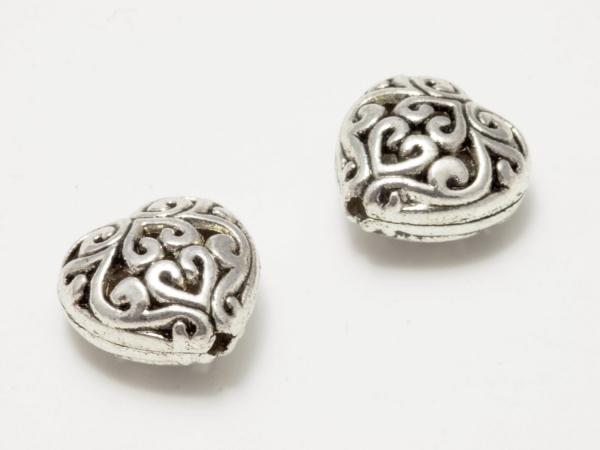 Metallperlen, Herz, filigranes Muster, versilbert, 12 mm
