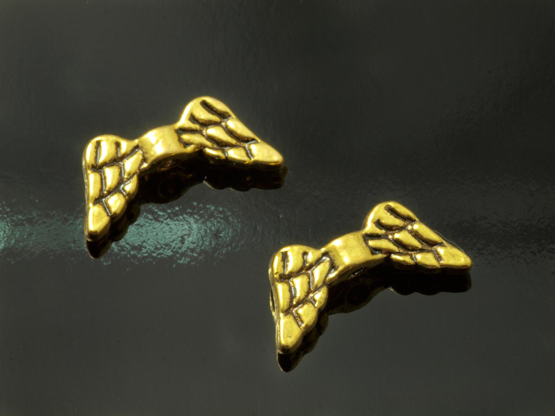 50 Engelsflügel Flügel antik silber 20 x 7mm Herz Metallperle Spacer Perlen V245