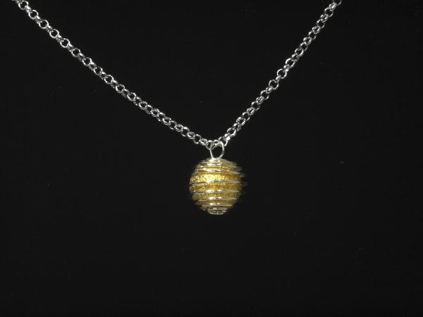 Kette mit Anhänger, Spiralperle mit Öse & diamantierte Perle, 14mm, goldfarben - 1 Stück