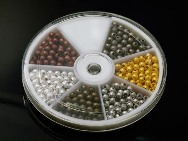 Metallperlen,Spacer, diamantiert, 6-Farben-Mix - ca. 390 Stück