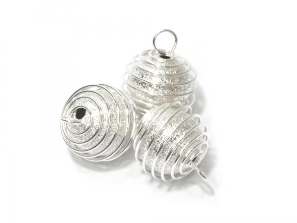 Anhänger Spiralperle mit Öse & diamantierte Perle, 14mm, silberfarben - 1 Stück