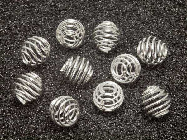 Wechselschmuck, Wechselspiralen, 9 mm, silberfarben - 10 Stück