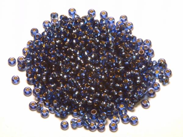 Rocailles, Böhmen, blau mit Silbereinzug, ca. 2,1 x 1,4 mm, 50 g