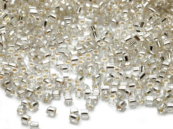 Rocailles, Böhmen, klar silbereinzug 2-cut 9/0 2,4mm, 50 g