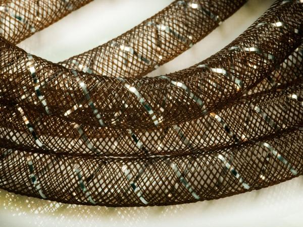 Mesh Schlauch, braun-silber, 8 mm, 1 m