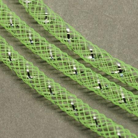 Mesh Schlauch, grün-silber, 8 mm, 1 m