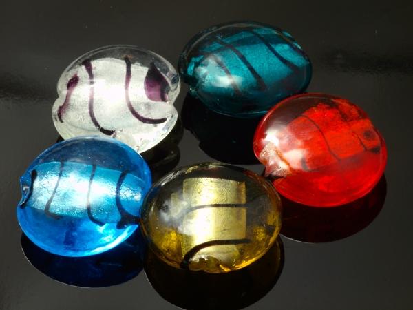 Silberfolie Glasperlen SOSIN 15x9mm gemischt - 5 Stück