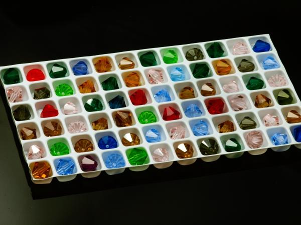 Glasschliffperlen, Bicone, 8 mm, Multicolor - 72 Stück