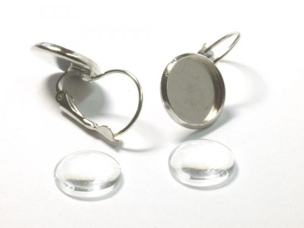 Cabochon Ohrring Set mit Brisur 12 mm 1 Paar