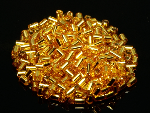 Rocailles, Böhmen, Tubes gold silbereinzug, ca. 2,5 mm, 50 g