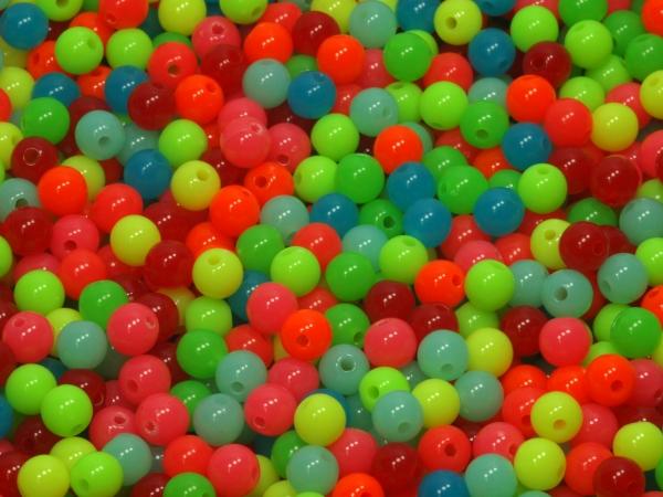 Acrylperlen Fluores 6 mm, multicolor - 11,30g, 100 Stück