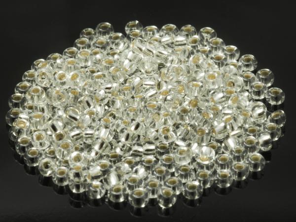 Rocailles, Böhmen, klar transparent silbereinzug, ca. 2,9 x 1,8 mm 50 g