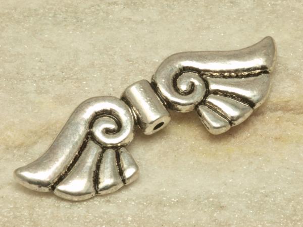 Metallperlen, Engelsflügel GIANT FLATTER, 44 mm, silberfarben geschwärzt - 1 Stück