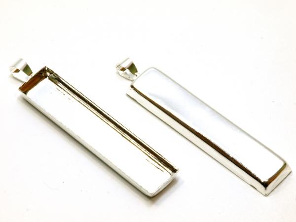 Cabochon Unterteile/Fassungen, 59x11 mm, silberfarben 1 Stück