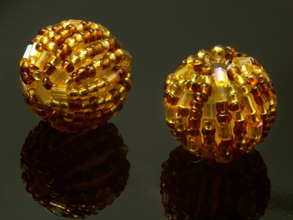 Perlen, Kunststoff mit Rocailles ORLA 18 mm, goldenrod, 1 Stück