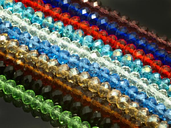 Glasschliffperlen, ARMILLA, Farbmix, 6 x 4 mm, 10 x ca. 100 Stück