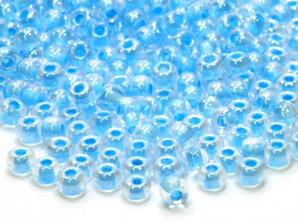 Rocailles, Böhmen, hellblau Color Lined, 4,1 x 2,8 mm, 50 g