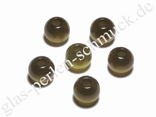 Polaris - Perle, olive, glänzend, großloch, 10 mm