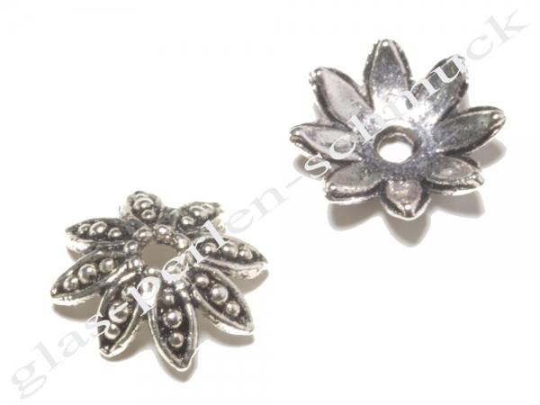 Perlkappen, versilbert Lotus, 14,5 mm, 1 Stück