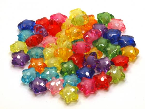 Acrylperlen Sterne TALITA Multicolor Mix 12mm 50 Stück