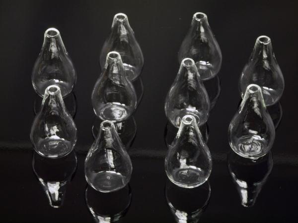 Glastropfen Hohlkugeln zum selbst befüllen, 30x18 mm 10 Stück Kugeln + 10 Stück Deckel silbern