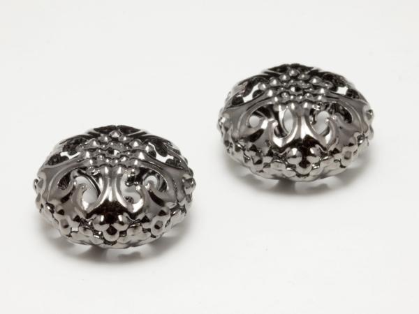 Metallperlen, CAVUS II filigran, anthrazit, 23x12 mm