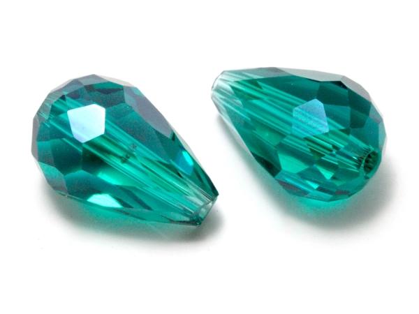 Glasschliffperlen, Tropfen CEMIDO 15 x 10 mm, smaragdgrün, 1 Stück
