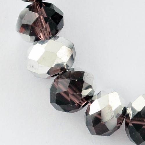 Glasschliffperlen, ARMILLA, amethyst, halb silber überzogen, 6 x 4 mm, ca. 100 Stück