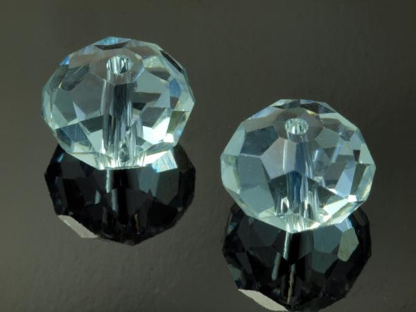 Glasschliffperlen, hellblau/pink, 10 x 8 mm - 1 Stück