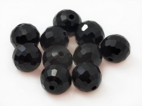 Glasschliffperlen DAYA, 96-seitig geschliffen, 8 mm, schwarz - 10 Stück