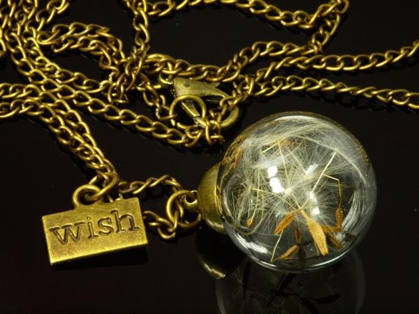 Glashohlkugel Pusteblume Messing, 19 mm, Kette 77 cm