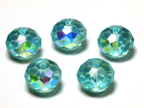 Glasschliffperlen, 12 x 9 mm, aqua AB - 5 Stück