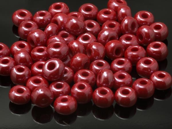 Rocailles, Böhmen, rot opaque glanz, ca. 6,1 x 4,1 mm, 50 g