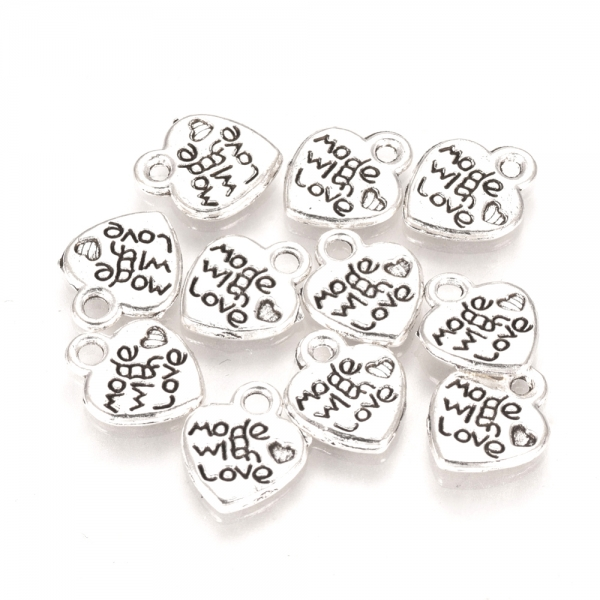 Metall-Anhänger MADE WITH LOVE in Herzform, Charms, 12 x 10 mm, silberfarben - 10 Stück