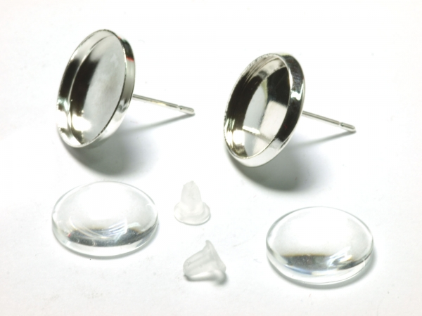 Cabochon Ohrring Set Stecker 12 mm 1 Paar