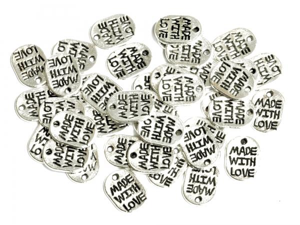 Metall-Anhänger MADE WITH LOVE, Charms, -Hand Made-, 11 x 8 mm, silberfarben - 25 Stück