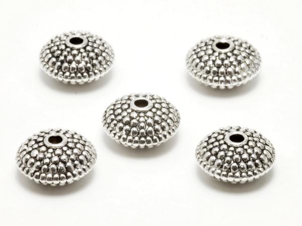 Metallperlen, Rondelle, Spacer, massiv, mit Pünktchen 11x6 mm
