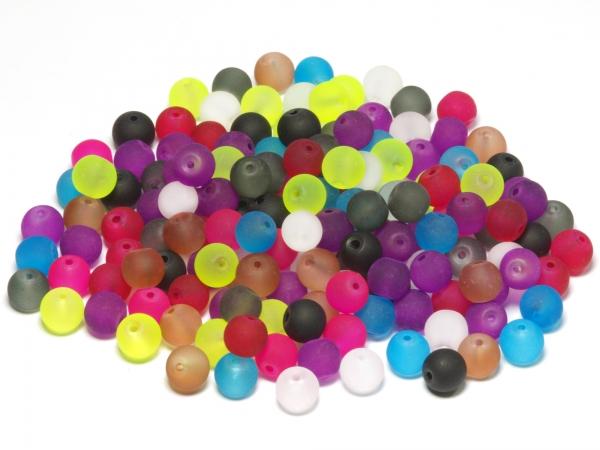 Glasperlen LENIO, farbig matt leicht transparent, 8mm - 100g, ca. 150 Stück