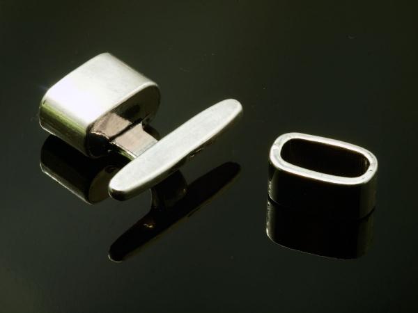 T-Schließe Knebelverschluss VALI ± 20x22mm und ± 13x7mm (Loch ± 11x5mm) 1 Stück