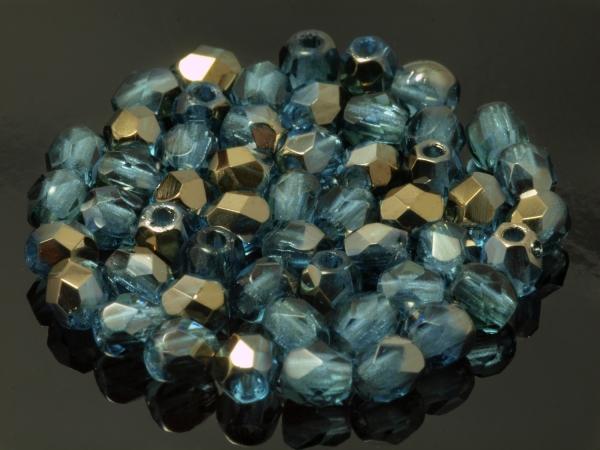 Glasschliffperlen (Böhmen,Tschechien) BRONZE IRIS DARK AQUAMARINE 3mm 100 Stück