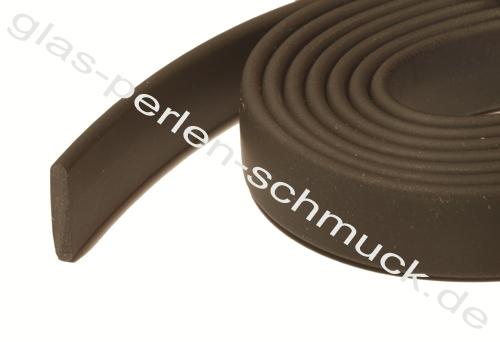 Kautschukband, flaches PVC-Band, 10x2mm, schwarz - Länge 1m