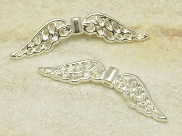 Engelsflügel, Metall - Perlen, ENIZ I-S, 32 x 6 mm, silberfarben, 1 Stück