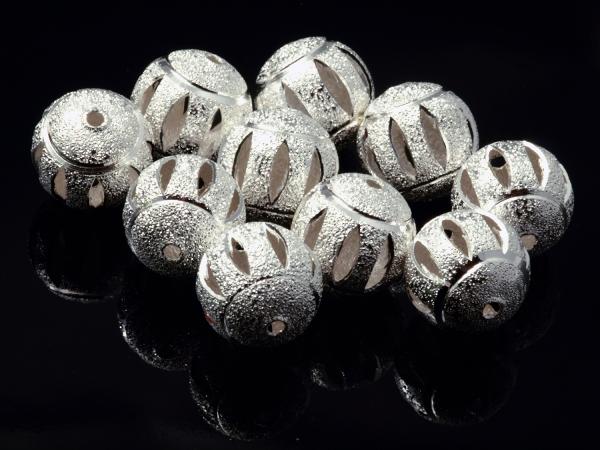 Metallperlen Stardust, diamantiert, geschliffen, silbern, 14 mm