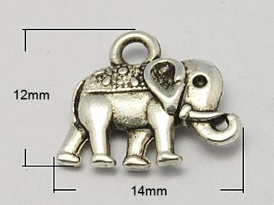 Vintage Elephant Charms, 12x14x2,5 mm, 1 Stück