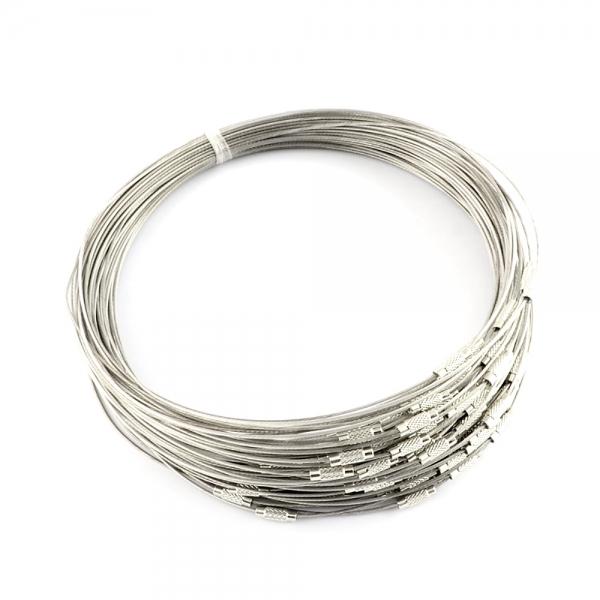 Armreif, transparente Silikonummantelung, silberfarben, Schraubverschluss 22,5 cm - 1 Stück
