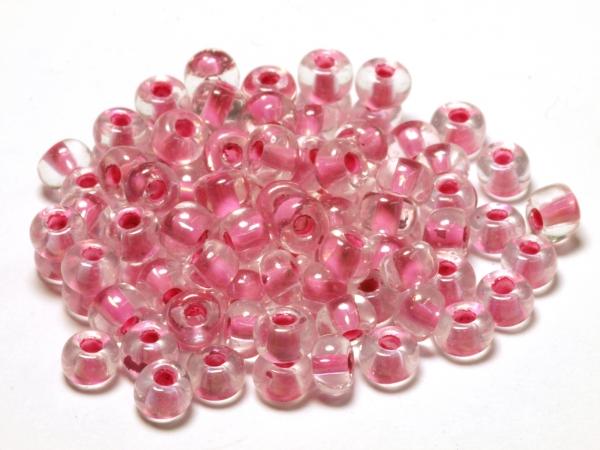 Rocailles, Böhmen, transparent rosa Farbeinzug, 4,1 x 2,8 mm, 50 g