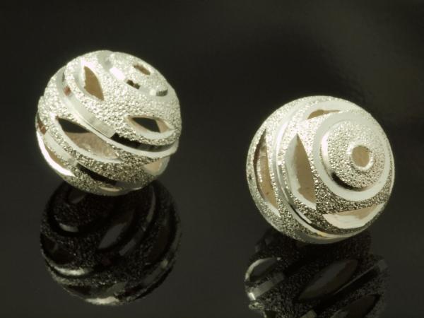 Metallperlen, rund, filigran, 10 mm, 10 Stück