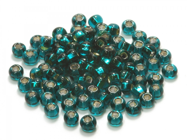 Rocailles, Böhmen, smaragdgrün Silbereinzug, Ø ca.4,1mm, 50 g