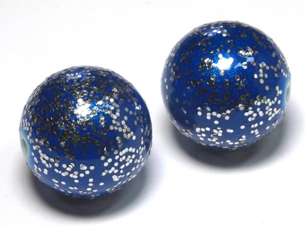 Acrylperlen Kunststoffperlen TINTRA blau mit Glitter 20 mm